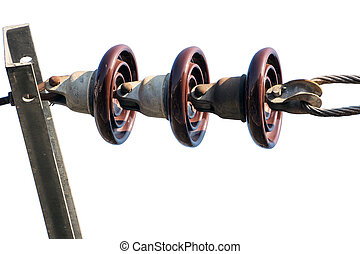 Power line insulators. - Close up of power line insulators.