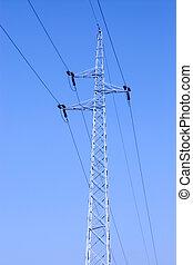 Power line pole on blue sky background
