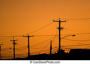 Power Line Silhouettes - Silhouettes of the power lines and...