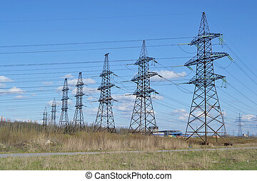 Power line. - Spring landscape with power line, Russia.
