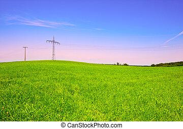 Power Line - High-voltage Power Line Passes through the...