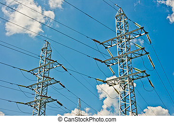 Power line towers in Moscow, Russia, Europe