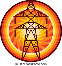 power line symbol (silhouette of power line and electric pylon, electric transmission line sign, power line badge)