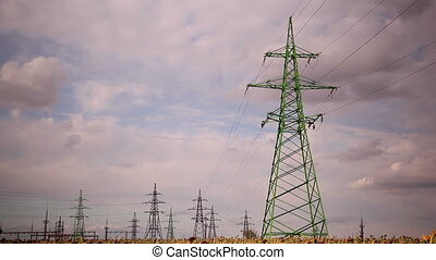 power line, time lapse  1 - power line, time lapse