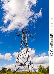 power line tower on the hill. view from below. beautiful...