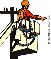 Illustration of a power lineman telephone repairman worker repairing, on a cherry picker done in retro style.