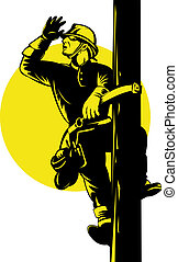 Power Lineman - Illustration of a power lineman telephone...