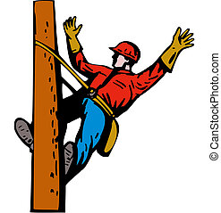 Power Lineman Electrician Leaning - Illustration of a power...