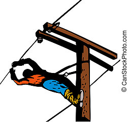 Power Lineman Electrician Leaning - Illustration of a power ...