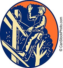 Power Lineman Electrician Post Helllo Oval Woodcut