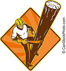 power lineman electrician repairman climbing electric pole