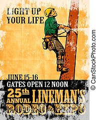 power lineman electrician repairman climbing electric pole
