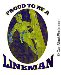 power lineman electrician repairman retro