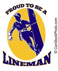 power lineman electrician repairman retro - illustration of ...