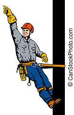 Power Lineman on Pole - Illustration of a power lineman ...