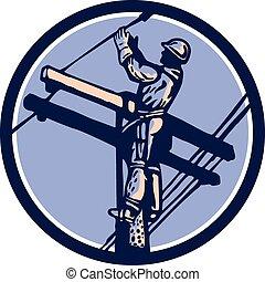 Power Lineman Repairman Climb Pole Retro Circle -...