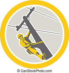 Power Lineman Repairman Climbing Pole Circle - Illustration...