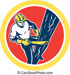 Power Lineman Repairman Harness Climbing Circle -...