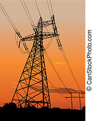 Power lines and pylons - Vector silhouette of Power lines ...