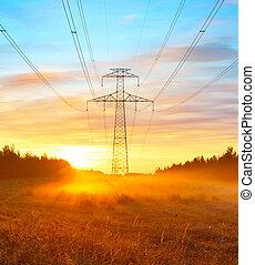 Power lines and sunrise landscape