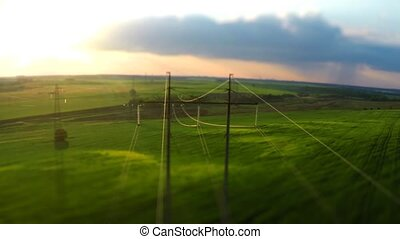 power lines. Flight over high-voltage supports and wires