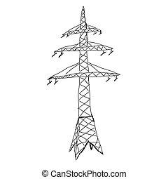 Power lines. Hand drawn sketch illustration