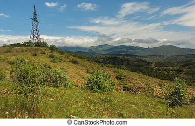 Power lines in mountains of Crimea