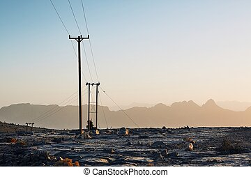 Power lines in mountains