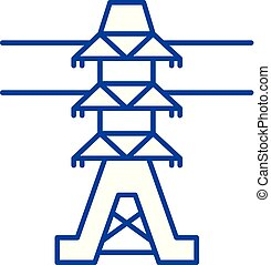 Power lines line icon concept. Power lines flat  vector symbol, sign, outline illustration.