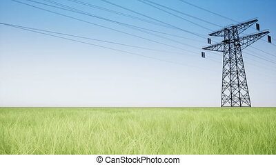 Power lines on a green field