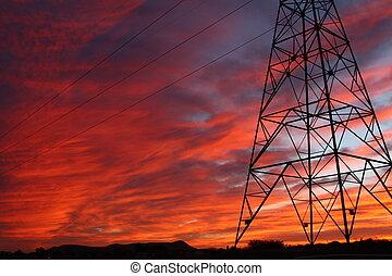 Power lines sunset