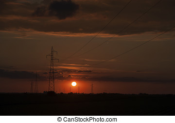 Power lines Sunset