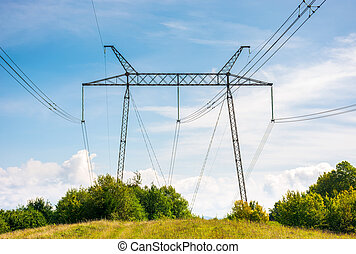 power lines tower on a meadow against the blue sky. lovely...