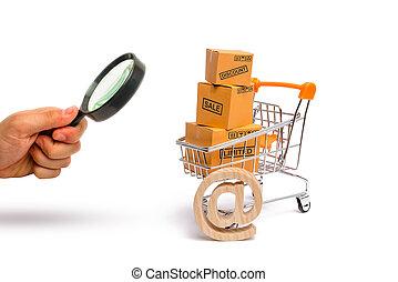 power., marchandises, concept, merchandise:, achat, exportation, regarder verre, vente, supermarché, charrette, internet, importation, boîtes, commerce., magnifier, achat, services