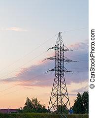 Power mast at sunset