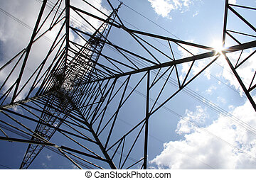 power mast - over land energy mast with metal cable