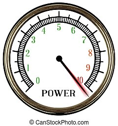 Power Meter - A round style power meter isolated on a white ...
