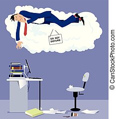 Power nap at work - Man sleeping on a cloud with do not...