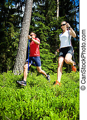power nordic walking - a couple nordic walking in the forest