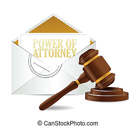 power of attorney and gavel illustration design over a white...