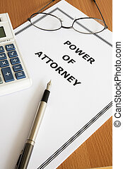 Image of a power of attorney on an office table.