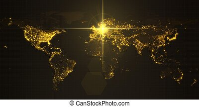 power of germany, energy beam on berlin. dark map with illuminated cities and human density areas. 3d illustration