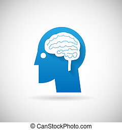 Power of Intelligent Symbol Head with Brain Silhouette Icon Design Template Vector Illustration