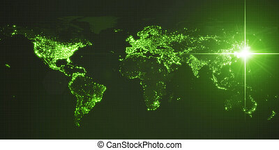 power of japan, energy beam on tokyo. dark map with illuminated cities and human density areas. 3d illustration