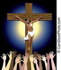 Power of Jesus Christ Easter - Vector Illustration showing...