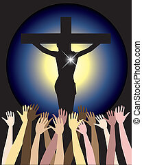 Vector Illustration showing the power of the holy spirit, Jesus Christ on cross. Easter Resurrection
