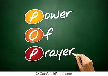 Power Of Prayer (POP), concept acronym, business concept on blackboard
