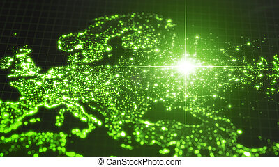 power of russia, energy beam on moscow. dark map with illuminated cities and human density areas. 3d illustration