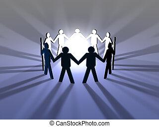 3D Illustration symbolizing the Power of harmonic Teamwork.