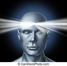 Power of the mind and the healing powers of the subconscous brain to get inspiration for new ideas creations and personal human achievements success in life with a persons head and a glowing light shinning from the center of the thinker.